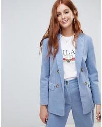 Женский голубой двубортный пиджак от New Look
