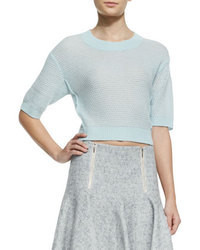 Голубой короткий свитер