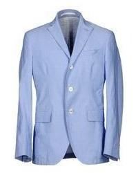 Голубой льняной пиджак