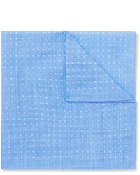 Голубой нагрудный платок в горошек от Anderson & Sheppard