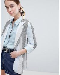 Женский голубой пиджак в вертикальную полоску от New Look