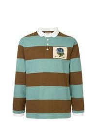 Мужской голубой свитер с воротником поло в горизонтальную полоску от Kent & Curwen