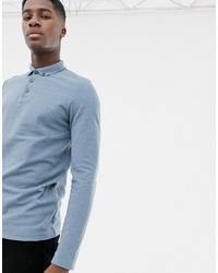 Мужской голубой свитер с воротником поло от ASOS DESIGN