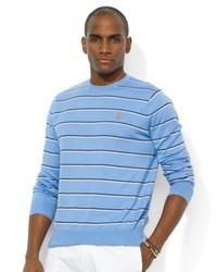 Голубой свитер с круглым вырезом в горизонтальную полоску