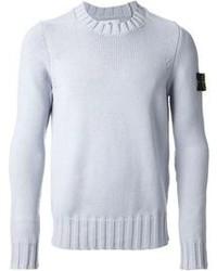 Голубой свитер с круглым вырезом