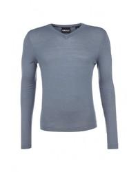 Мужской голубой свитер с v-образным вырезом от DKNY