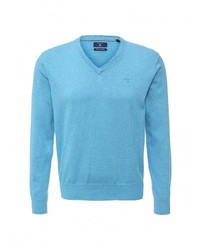 Мужской голубой свитер с v-образным вырезом от Gant