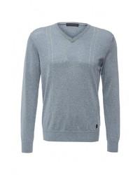 Мужской голубой свитер с v-образным вырезом от Tru Trussardi