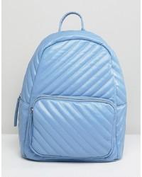 Голубой стеганый рюкзак