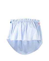Голубой топ с открытыми плечами с рюшами от Forte Dei Marmi Couture