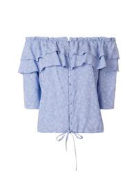 Голубой топ с открытыми плечами с рюшами от Zadig & Voltaire