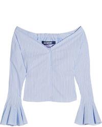 Женский голубой топ с открытыми плечами от Jacquemus