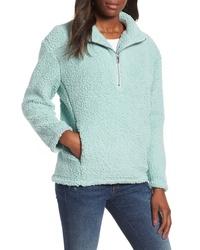Голубой флисовый свитер с воротником на молнии