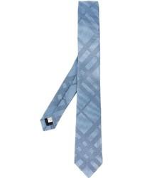 Мужской голубой шелковый галстук в горизонтальную полоску от Burberry