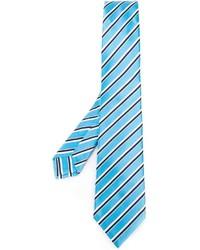 Мужской голубой шелковый галстук в горизонтальную полоску от Kiton