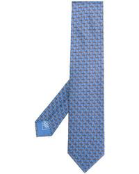 Мужской голубой шелковый галстук с принтом от Brioni