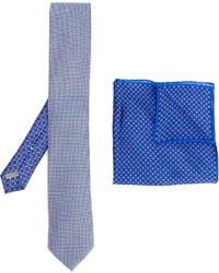 Мужской голубой шелковый галстук с принтом от Canali