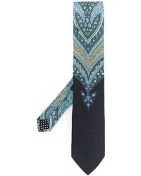 Мужской голубой шелковый галстук с принтом от Etro