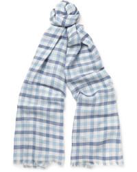 Мужской голубой шелковый шарф в клетку