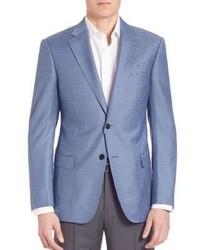 Голубой шерстяной пиджак в клетку