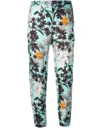 Женские голубые брюки-галифе с цветочным принтом от MSGM