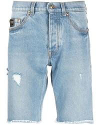 Мужские голубые джинсовые рваные шорты от VERSACE JEANS COUTURE