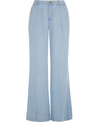 Голубые джинсовые широкие брюки