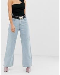 Голубые джинсовые широкие брюки от Missguided