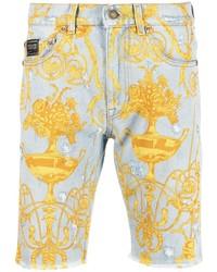 Мужские голубые джинсовые шорты с принтом от VERSACE JEANS COUTURE