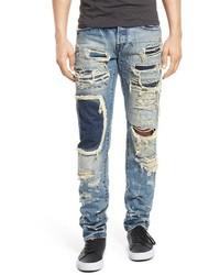 Голубые джинсы в стиле пэчворк