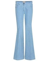 Голубые джинсы-клеш