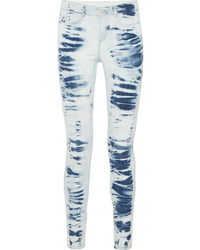 Голубые джинсы скинни с принтом тай-дай