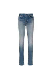 Голубые джинсы скинни от Saint Laurent