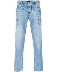 Голубые джинсы с принтом