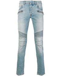 Мужские голубые зауженные джинсы от Balmain