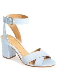 Голубые кожаные босоножки на каблуке