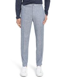 Голубые льняные брюки чинос