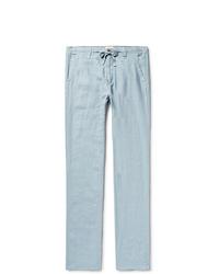 Голубые льняные брюки чинос от Hartford
