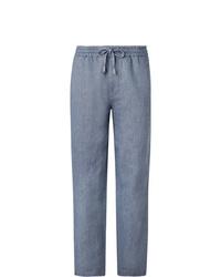 Голубые льняные брюки чинос от Mr P.