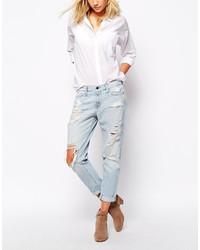 Голубые рваные джинсы-бойфренды от Abercrombie & Fitch