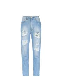 Голубые рваные джинсы-бойфренды от Amapô