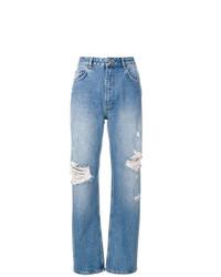 Голубые рваные джинсы-бойфренды от Anine Bing