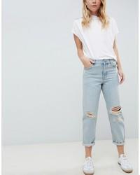 Голубые рваные джинсы-бойфренды от ASOS DESIGN