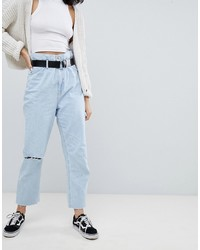 Голубые рваные джинсы-бойфренды от Bershka