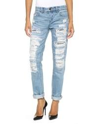 Женские голубые рваные джинсы-бойфренды от Blank