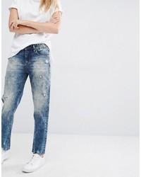 Голубые рваные джинсы-бойфренды от Blank NYC