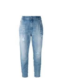 Голубые рваные джинсы-бойфренды от Diesel