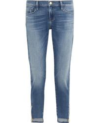 Женские голубые рваные джинсы-бойфренды от Frame