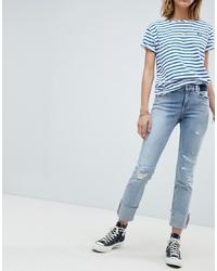Голубые рваные джинсы-бойфренды от Maison Scotch