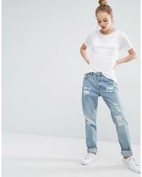 Женские голубые рваные джинсы-бойфренды от Monki